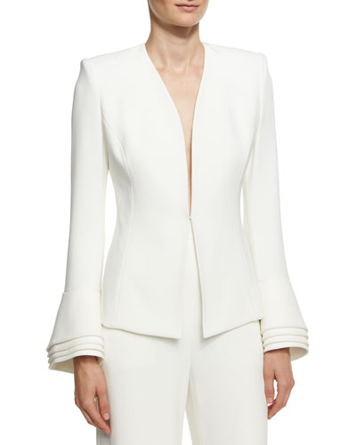 Layered-Cuff Crepe Jacket, Ivory