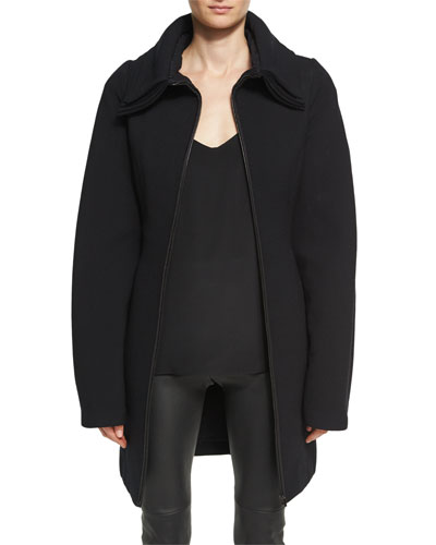 Layered-Collar Wool Crepe Zip-Front Coat, Black