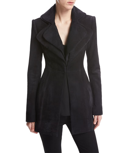 Suede Layered-Lapel Jacket, Navy