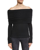 Off-the-Shoulder Layered Sweater, Black