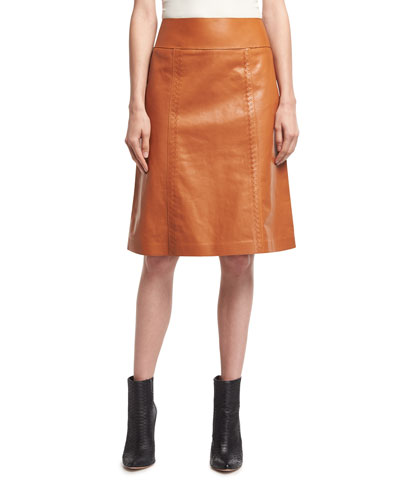 Calf Leather A-Line Skirt