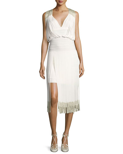 Drape-Front Lurex® Fringe Dress, Alabaster Combo