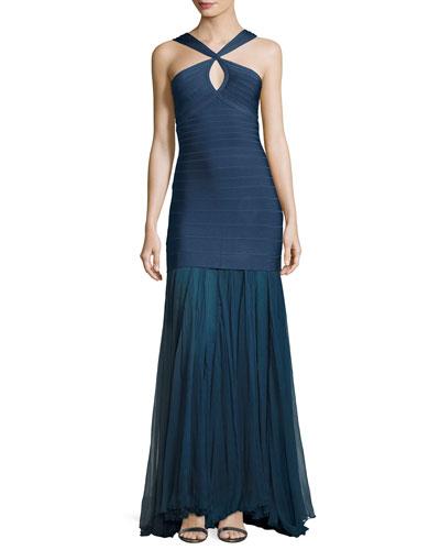 Sleeveless Keyhole Bandage Gown with Chiffon Skirt, China Blue