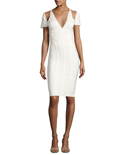 Cold-Shoulder Bandage Dress, Alabaster