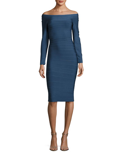 Off-the-Shoulder Bandage Dress, China Blue