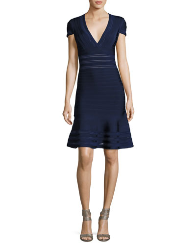 Picot-Trim V-Neck Bandage Dress