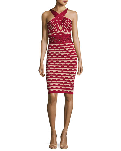 Scalloped Jacquard Crossover-Neck Dress with Rings, Cranberry Combo