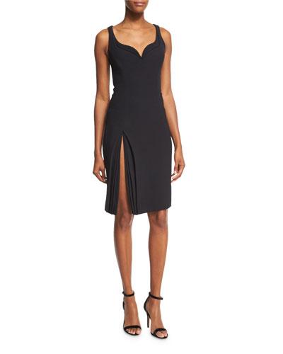 Sleeveless Sweetheart Petal-Detail Dress, Black