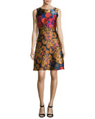 Floral Brocade Sleeveless A-Line Dress, Black