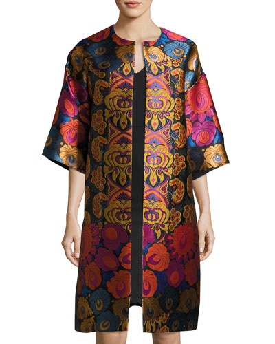 Floral Brocade Car Coat, Black
