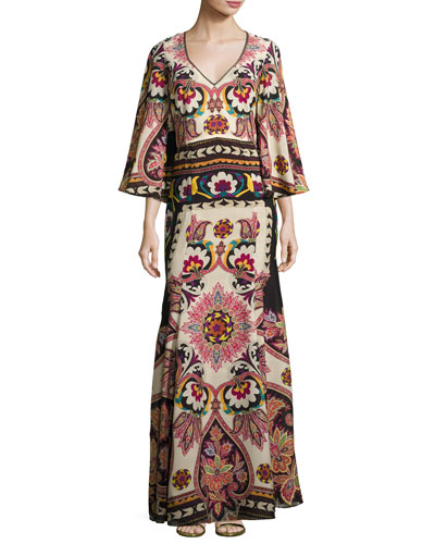 Paisley Cutout-Back Bell-Sleeve Gown, Ivory/Black/Bright Multicolor