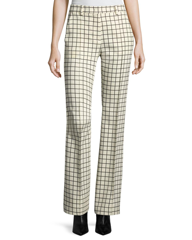 Windowpane Stretch-Wool Trousers, Ivory
