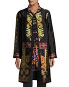 Suzani Printed Silk Faille Car Coat, Black