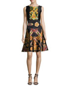 Suzani-Print Silk Faille Fit & Flare Dress, Black