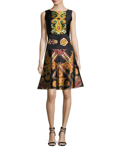 Suzani-Print Silk Faille Fit & Flare Dress, Black