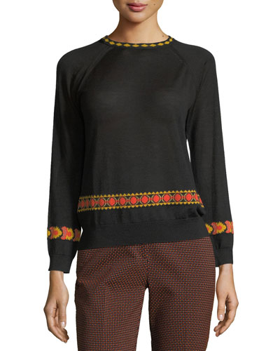 Intarsia 3/4-Sleeve Sweater, Black