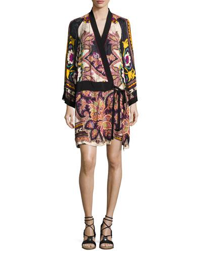 Paisley Kimono Wrap Minidress, Ivory/Black/Multicolor