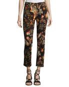 Tiger & Floral-Print Cropped Boyfriend Jeans, Black