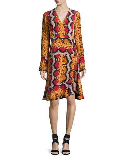 Snake-Print Silk V-Neck Flounce Dress, Orange