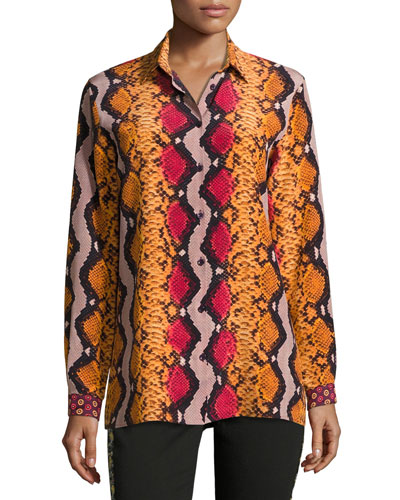 Snakeskin-Print Silk Blouse, Orange