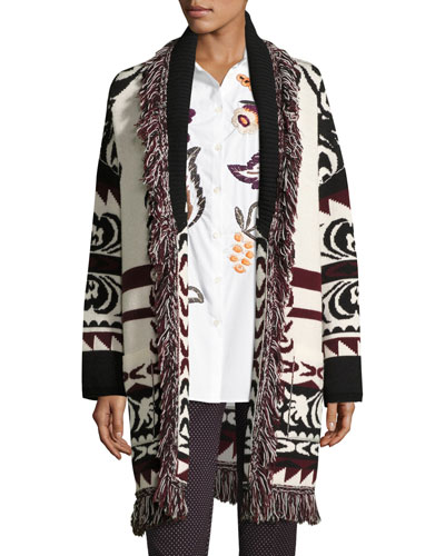 Fringe-Trim Geometric Wool Long Cardigan, Ivory