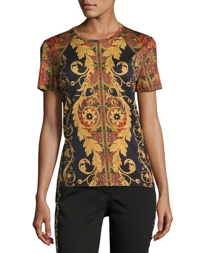 Vine Paisley Cotton T-Shirt, Black