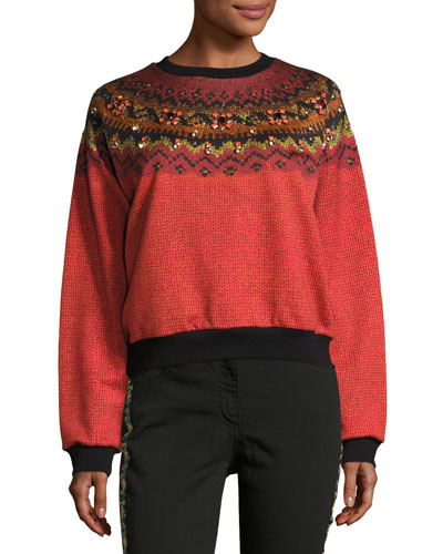Jewel-Embellished Geometric Crewneck Sweatshirt, Orange
