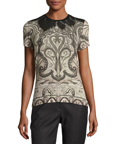 Classic Paisley Leaf-Collar Top, Ivory