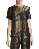 Floral Lamé Jacquard Short-Sleeve Top, Black