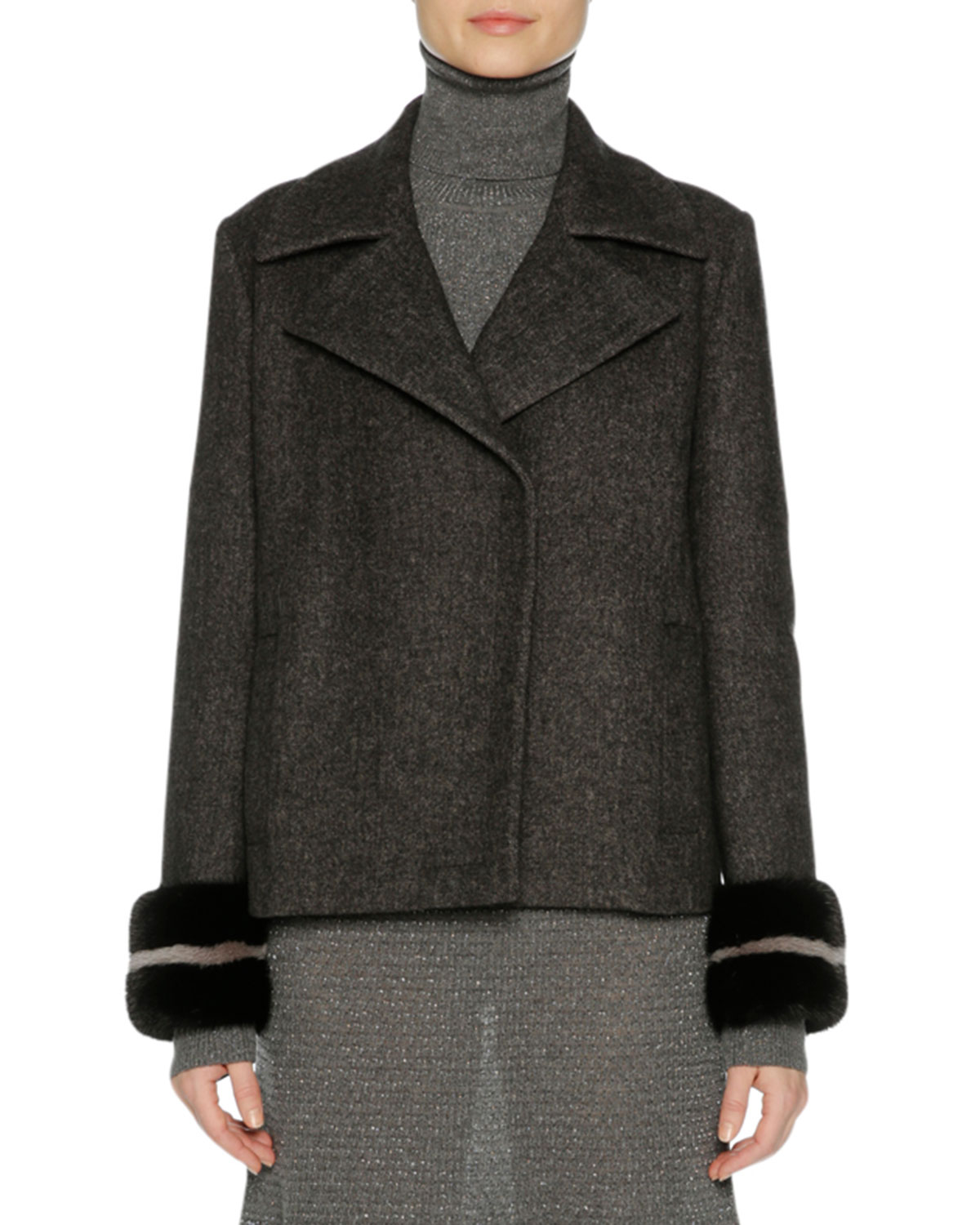 Wool-Cashmere Peacoat with Mink Fur Cuffs