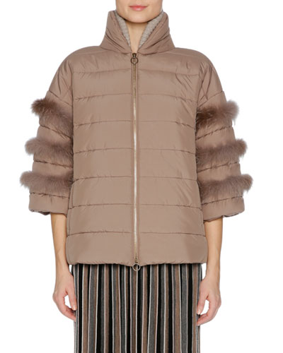 Short Puffer Jacket with Fox Fur Trim