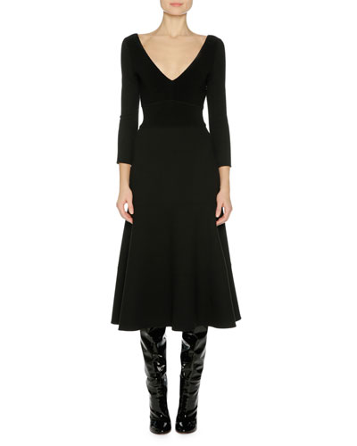 3/4-Sleeve A-Line Midi Dress, Black