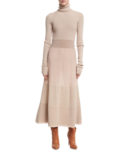 Long-Sleeve Lurex® Knit Turtleneck Midi Dress, Gray