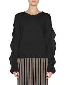 Ruffle-Sleeve Crewneck Sweater