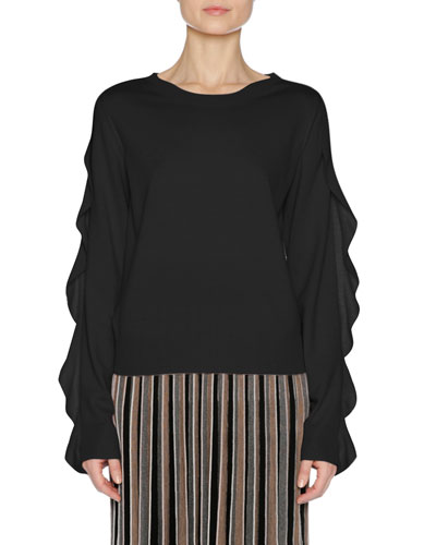 Ruffle-Sleeve Crewneck Sweater, Black