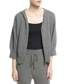 Cashmere-Wool Cropped Zip-Front Hoodie