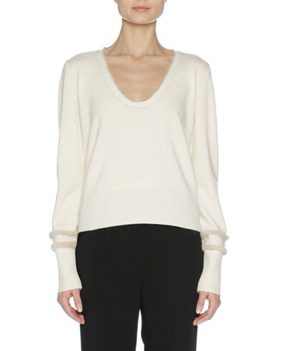 City Cashmere Sweater with Mink Fur Trim, Multi