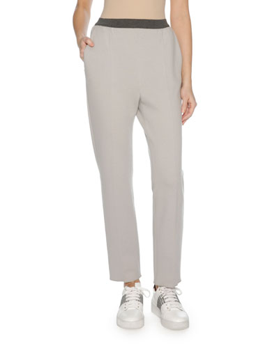 Wool Jersey Sporty Pants, Gray
