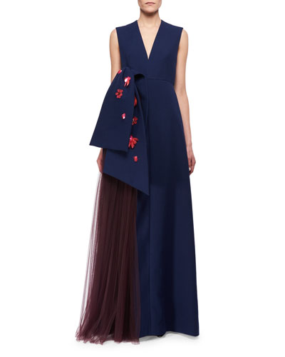 Floral-Embellished Sleeveless V-Neck Gown, Blue