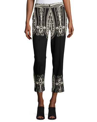 Paisley Wool Cropped Straight-Leg Pants, Black