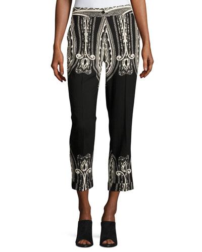 Paisley Wool Cropped Straight-Leg Pants, Black