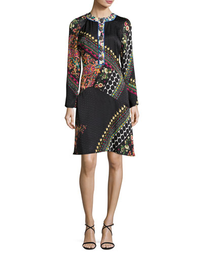 Mixed Paisley Jacquard Long-Sleeve Dress, Black