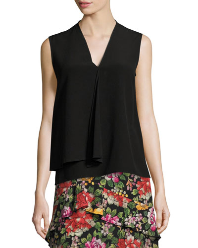 Draped Silk Sleeveless V-Neck Top, Black