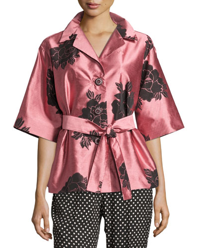 Floral Shantung Belted Jacket, Blush/Black