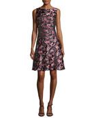 Floral Jacquard A-Line Dress, Pink