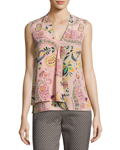 Paisley Draped Silk Sleeveless V-Neck Top, Black