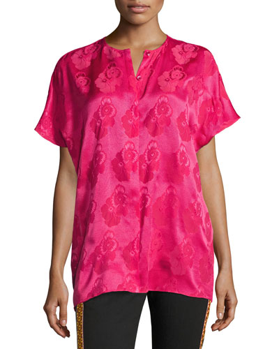 Short-Sleeve Tonal Floral Jacquard Silk Blouse, Hot Pink