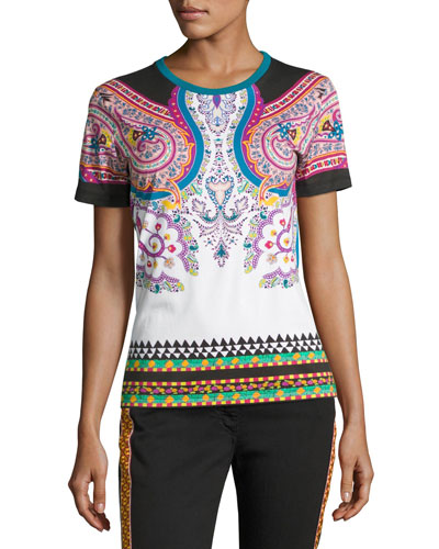 Paisley Cotton T-Shirt, White/Turquoise/Pink