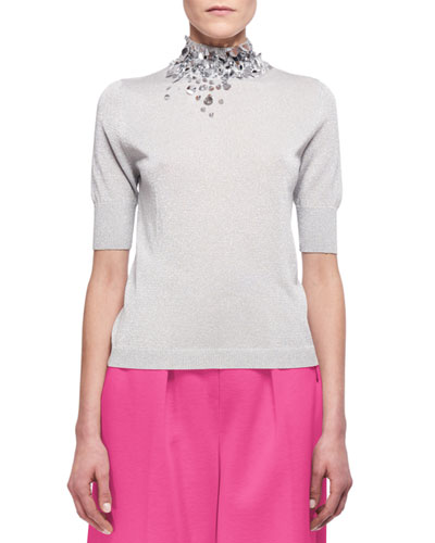 Embellished Half-Sleeve Mock-Neck Sweater, Silver