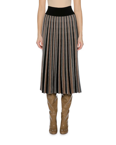 Pleated Knit Midi Skirt, Black
